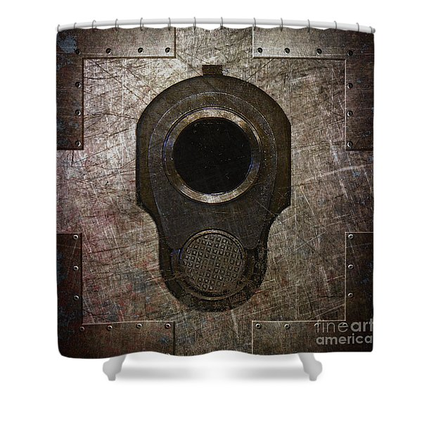M1911 Muzzle On Rusted Riveted Metal Dark Shower Curtain