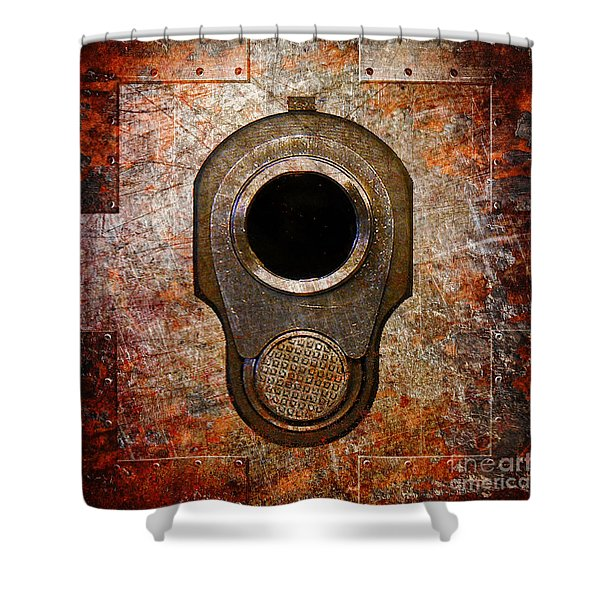 M1911 Muzzle On Rusted Riveted Metal Shower Curtain