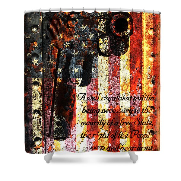 M1911 Pistol And Second Amendment On Rusted American Flag Shower Curtain
