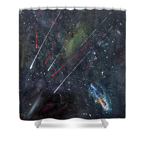 Shower Curtain featuring the painting M51 by Michael Lucarelli