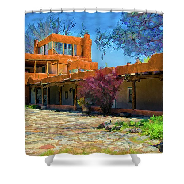 Mabel's Courtyard As Oil Shower Curtain