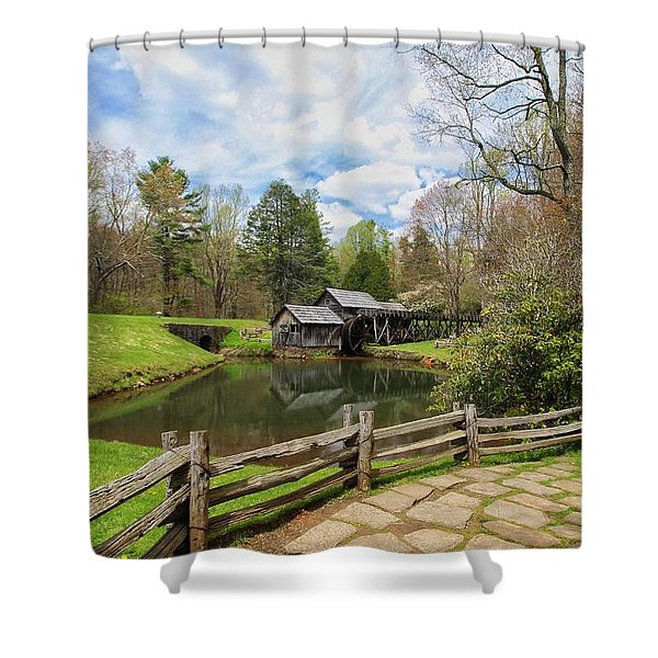 Mabry Mill In The Spring Shower Curtain