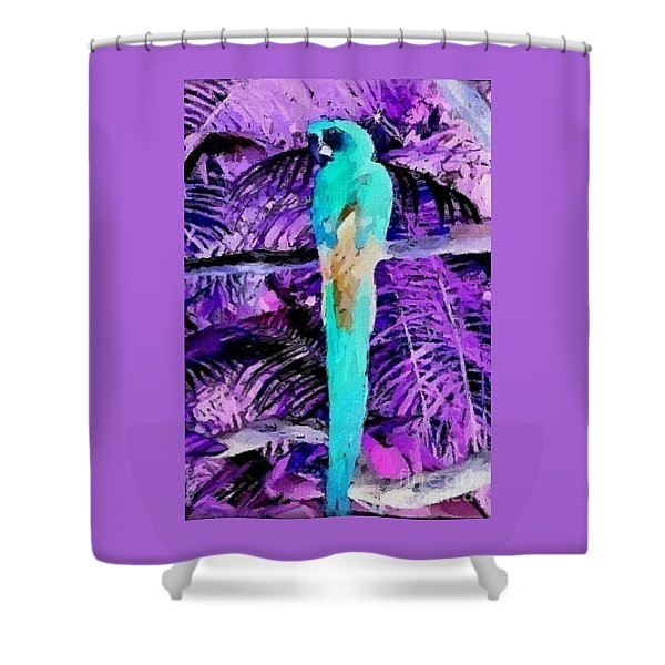 Shower Curtain featuring the mixed media Macaw Fantasy by Writermore Arts