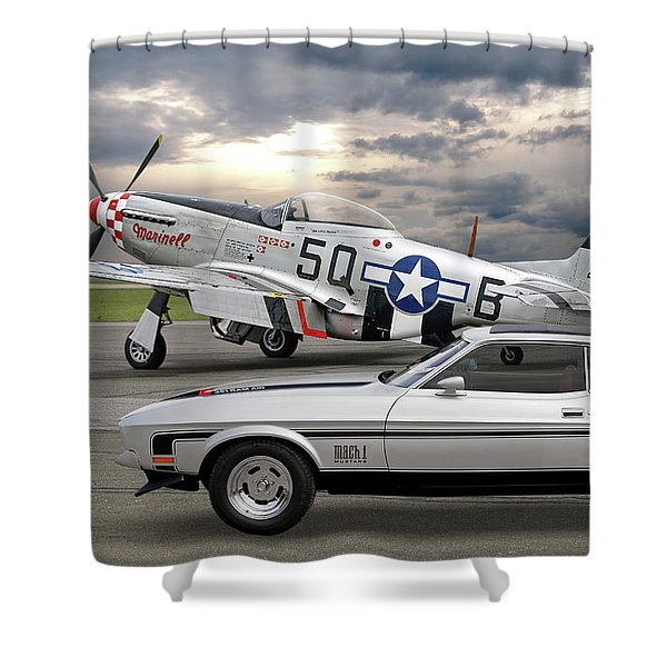 Mach 1 Mustang With P51  Shower Curtain