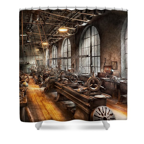 Machinist - A Room Full Of Lathes  Shower Curtain