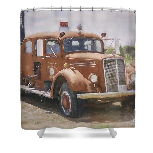 Mack Fire Truck  Shower Curtain