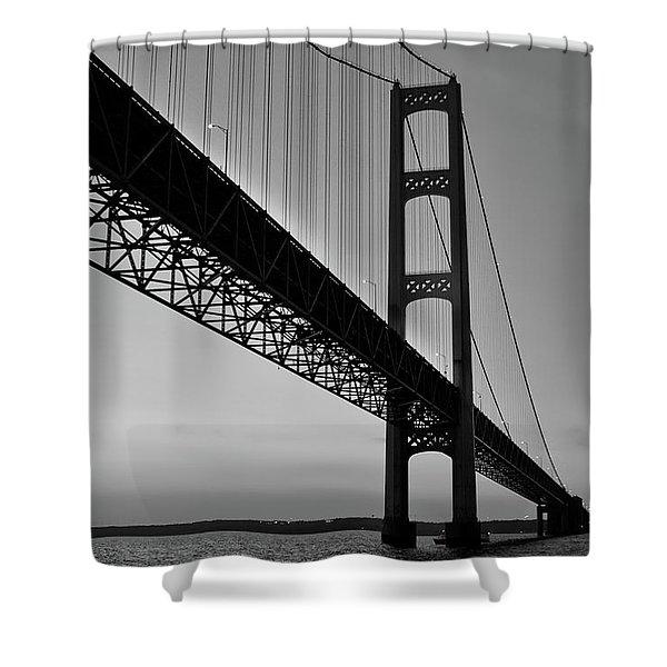 Mackinac Bridge At Sunset Shower Curtain