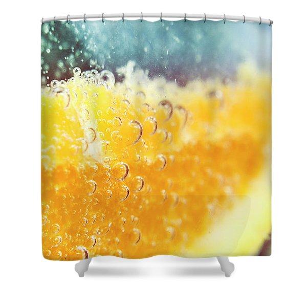 Macro Detail On A Club Orange Cocktail Shower Curtain