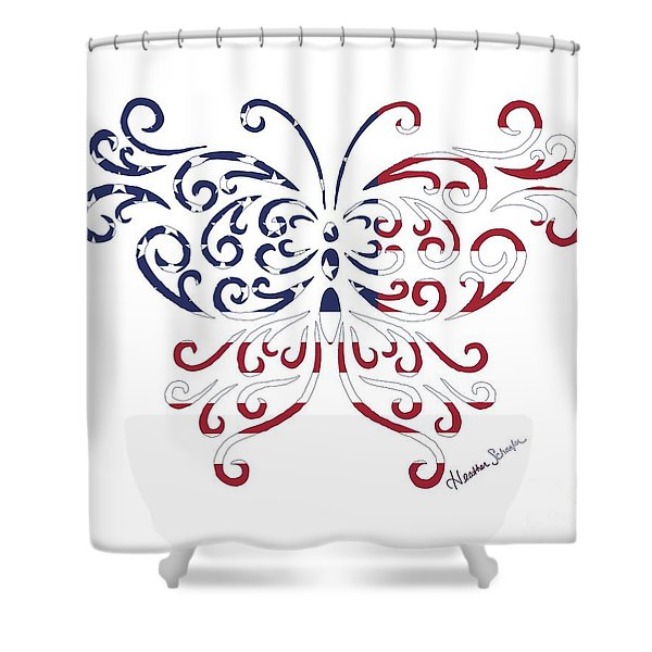 Made In The Usa Tribal Butterfly Shower Curtain