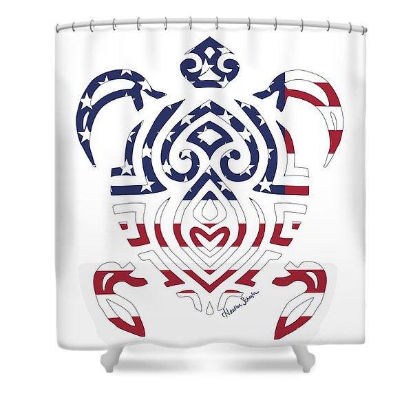 Made In The Usa Tribal Turtle Shower Curtain