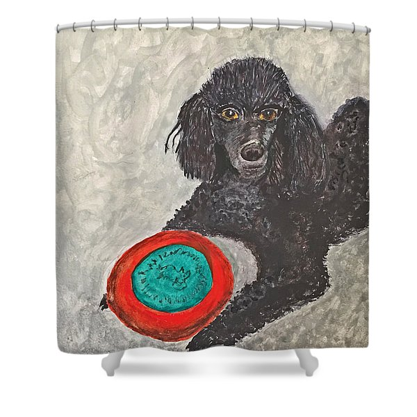 Maggie And Her Frisbee Shower Curtain