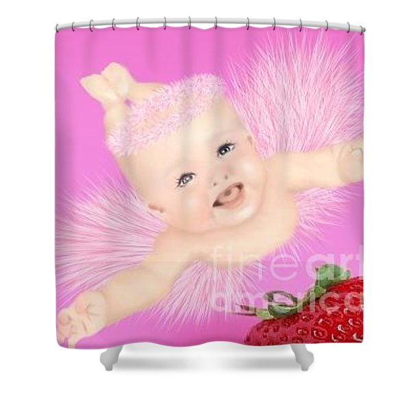 Magic Baby Face-pink Angle Shower Curtain