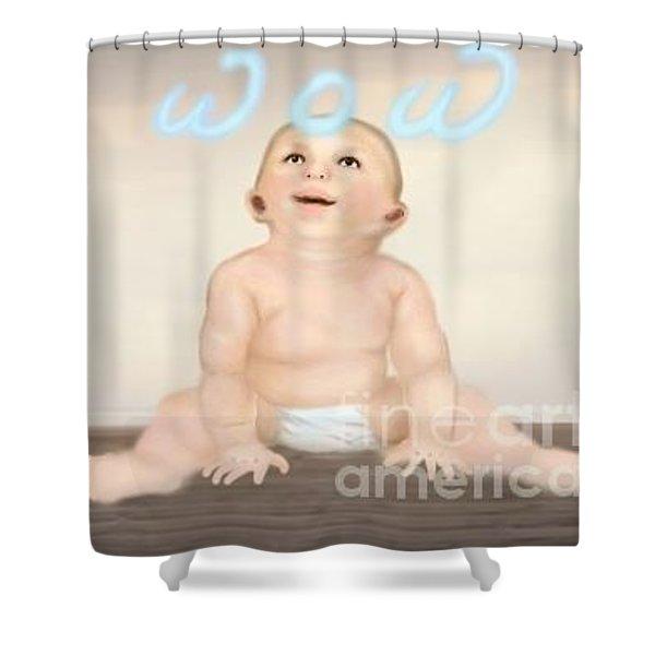 magic baby face-WOW Shower Curtain