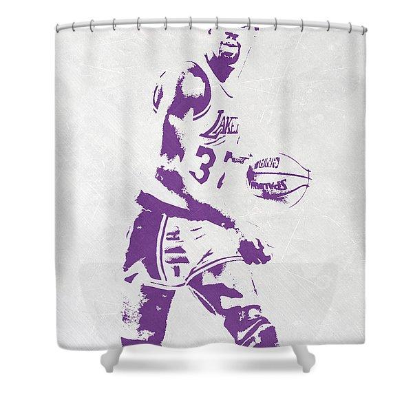 Magic Johnson Los Angeles Lakers Pixel Art Shower Curtain