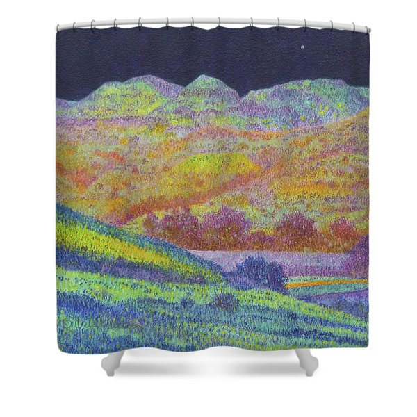 Shower Curtain featuring the painting Magical Midnight Grasslands by Cris Fulton