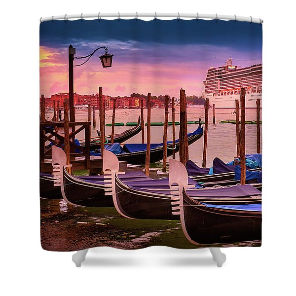 Gondolas And Cityscape At Sunset In Venice, Italy Shower Curtain
