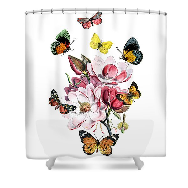 Magnolia With Butterflies Shower Curtain