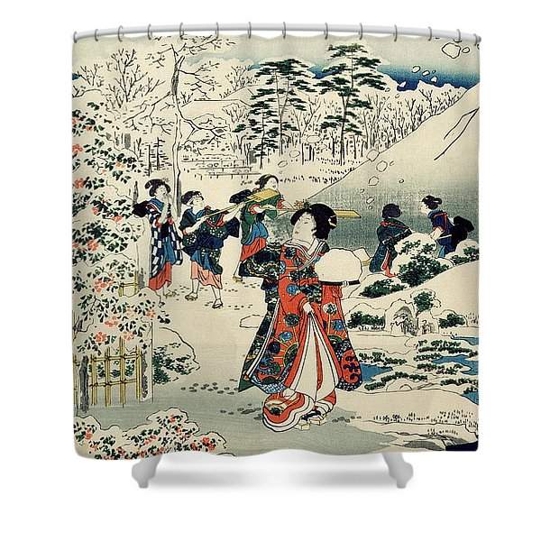 Maids In A Snow Covered Garden Shower Curtain