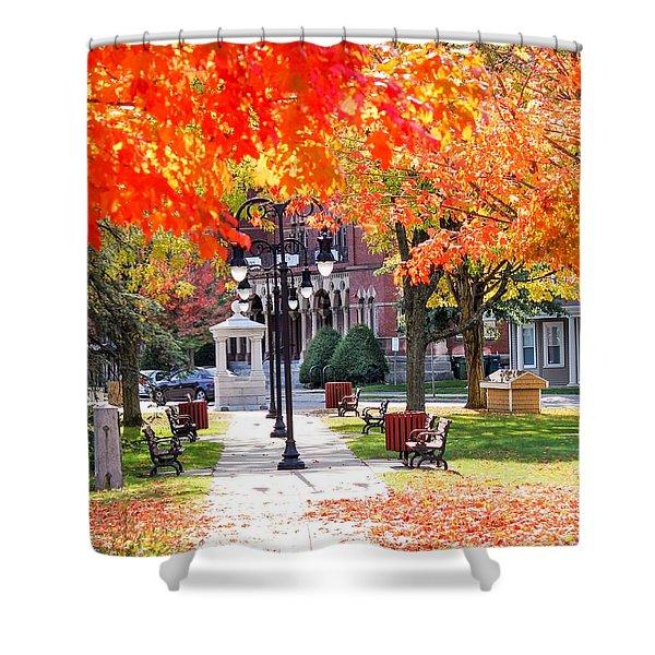 Shower Curtain featuring the photograph Main Street In The Fall by Sven Kielhorn