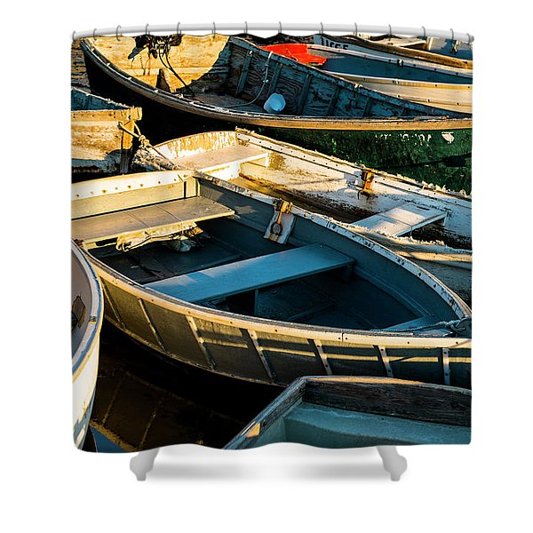 Maine Boats At Sunset Shower Curtain
