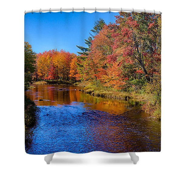 Maine Brook In Afternoon With Fall Color Reflection Shower Curtain