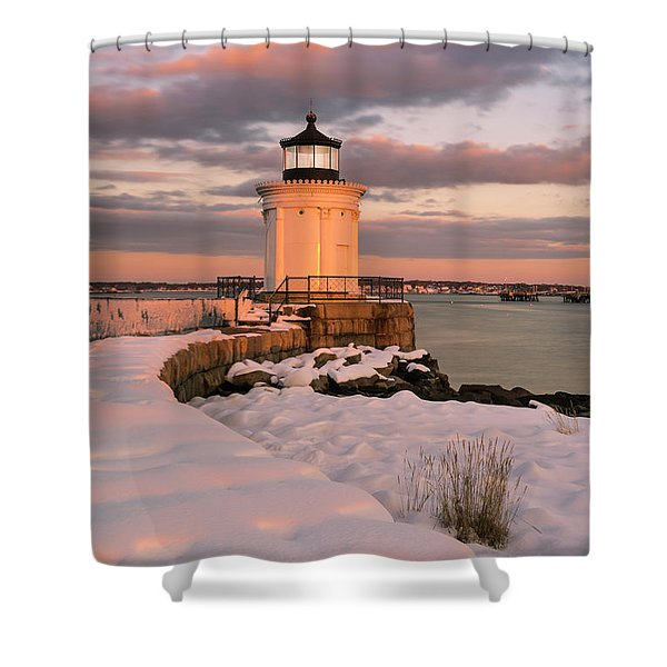 Shower Curtain featuring the photograph Maine Bug Light Lighthouse Snow At Sunset by Ranjay Mitra