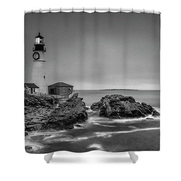 Maine Cape Elizabeth Lighthouse Aka Portland Headlight In Bw Shower Curtain