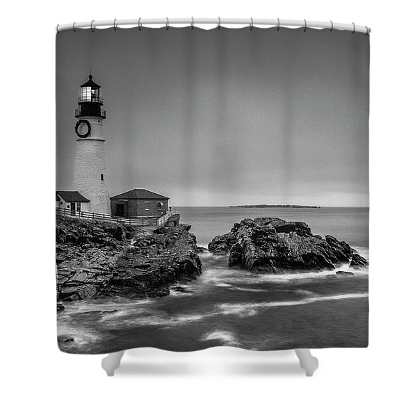 Shower Curtain featuring the photograph Maine Cape Elizabeth Lighthouse Aka Portland Headlight In Bw by Ranjay Mitra
