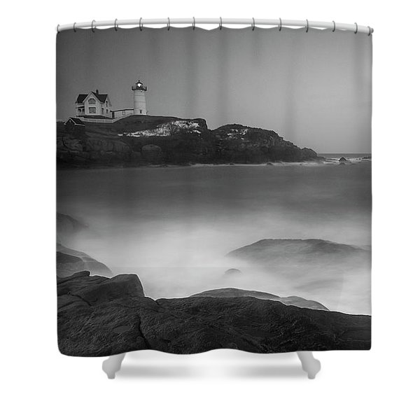 Shower Curtain featuring the photograph Maine Cape Neddick Lighthouse And Rocky Coastal Waves Bw by Ranjay Mitra