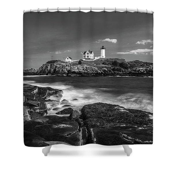 Maine Cape Neddick Lighthouse In Bw Shower Curtain