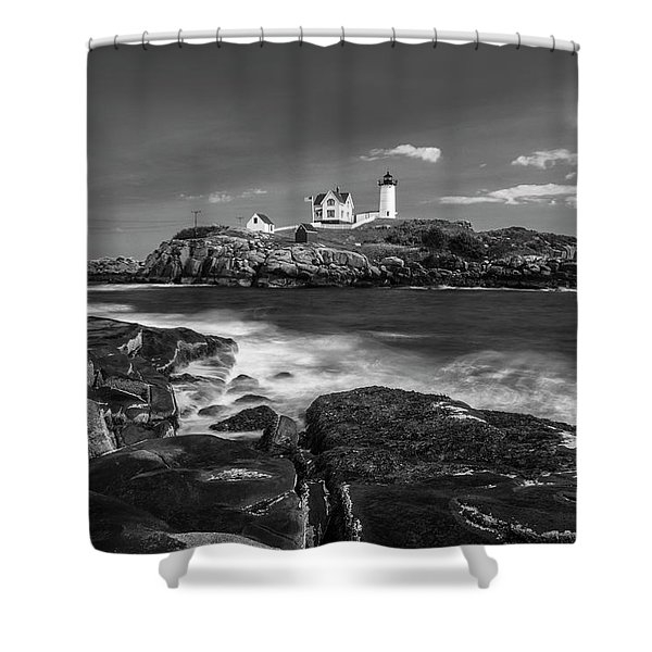 Shower Curtain featuring the photograph Maine Cape Neddick Lighthouse In Bw by Ranjay Mitra