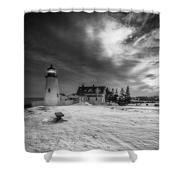 Shower Curtain featuring the photograph Maine Coastal Storm Over Pemaquid Lighthouse by Ranjay Mitra