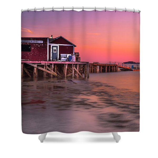 Maine Coastal Sunset At Dicks Lobsters - Crabs Shack Shower Curtain