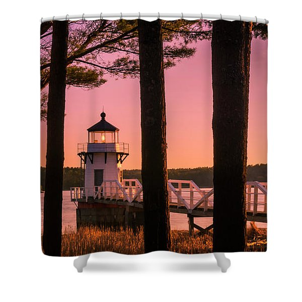Shower Curtain featuring the photograph Maine Doubling Point Lighthouse At Sunset Panorama by Ranjay Mitra