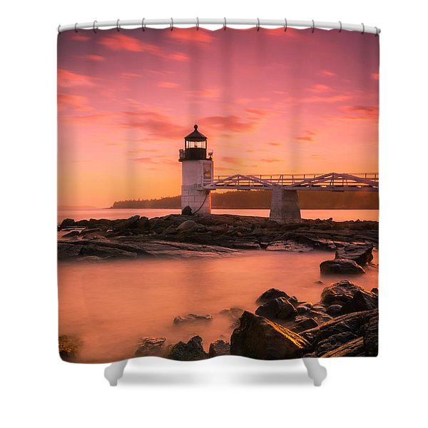 Shower Curtain featuring the photograph Maine Lighthouse Marshall Point At Sunset by Ranjay Mitra