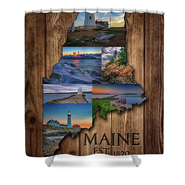 Maine Lighthouses Collage Shower Curtain