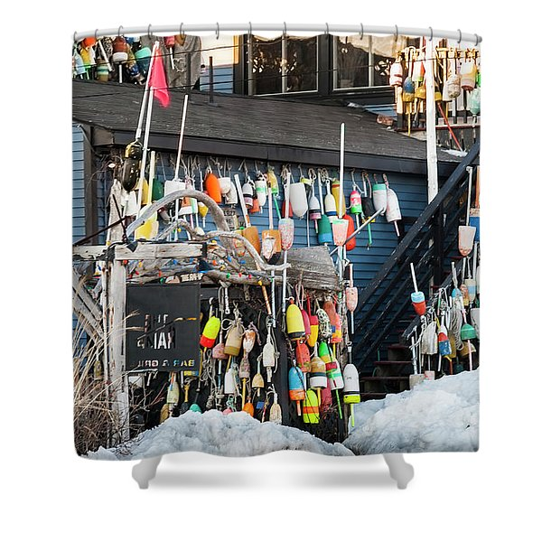 Maine Lobster Shack In Winter Shower Curtain