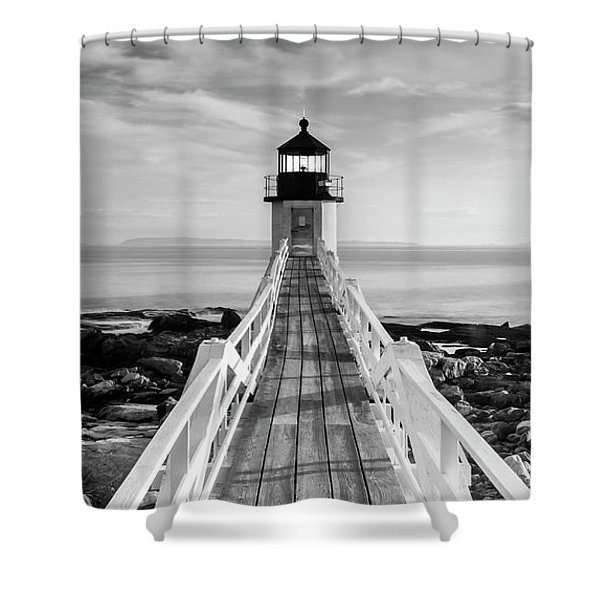 Shower Curtain featuring the photograph Maine Marshall Point Lighthouse Vertical Panorama In Black And White by Ranjay Mitra