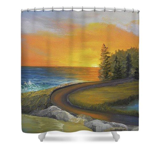 Maine Ocean Sunrise Shower Curtain