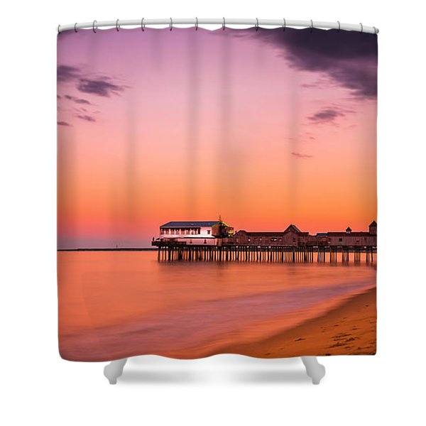 Shower Curtain featuring the photograph Maine Old Orchard Beach Pier At Sunset by Ranjay Mitra
