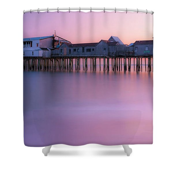 Maine Oob Pier At Sunset Panorama Shower Curtain