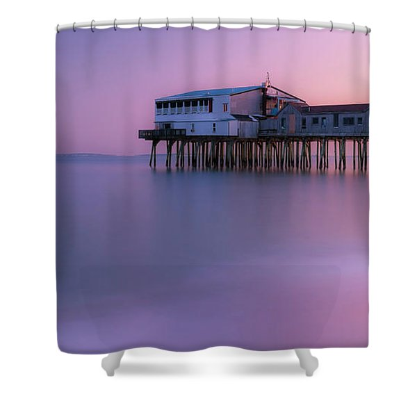 Shower Curtain featuring the photograph Maine Oob Pier At Sunset Panorama by Ranjay Mitra
