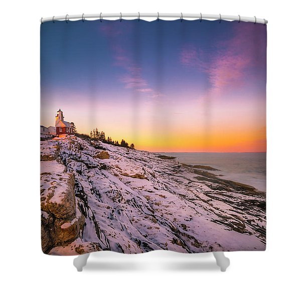 Shower Curtain featuring the photograph Maine Pemaquid Lighthouse In Winter Snow by Ranjay Mitra