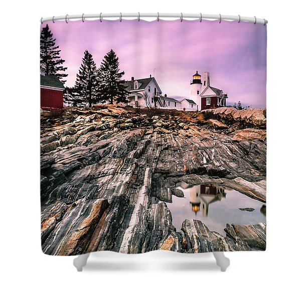 Maine Pemaquid Lighthouse Reflection In Summer Shower Curtain