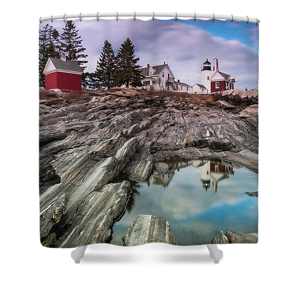Shower Curtain featuring the photograph Maine Pemaquid Lighthouse Reflection by Ranjay Mitra