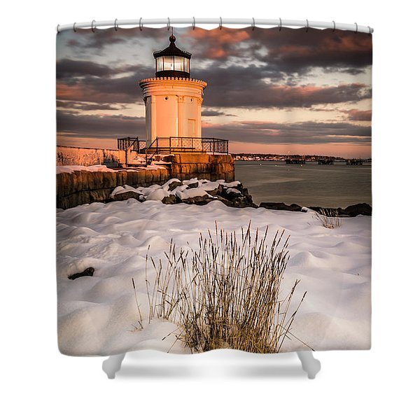 Maine Portland Bug Light Lighthouse Sunset  Shower Curtain