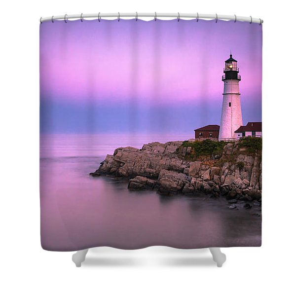 Shower Curtain featuring the photograph Maine Portland Headlight Blue Hour Panorama by Ranjay Mitra