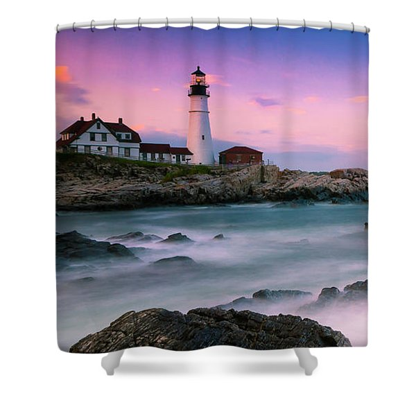 Shower Curtain featuring the photograph Maine Portland Headlight Lighthouse At Sunset Panorama by Ranjay Mitra