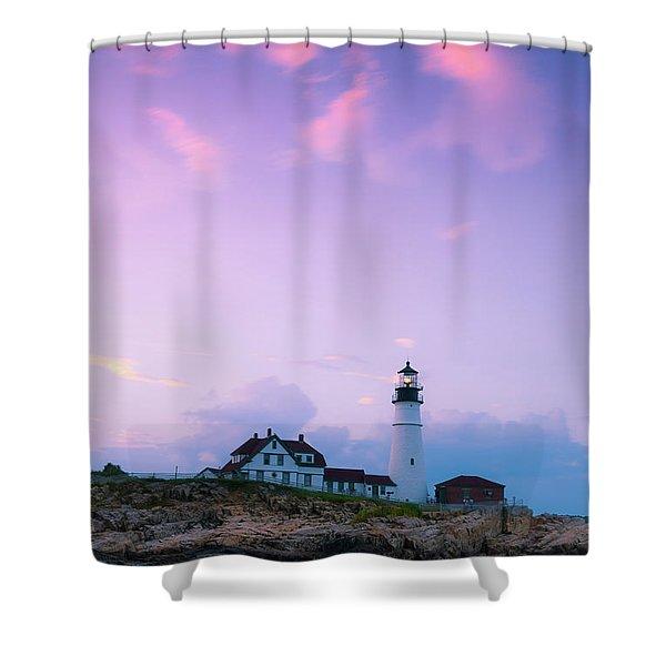 Maine Portland Headlight Lighthouse In Blue Hour Shower Curtain