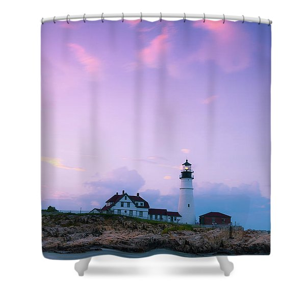 Shower Curtain featuring the photograph Maine Portland Headlight Lighthouse In Blue Hour by Ranjay Mitra